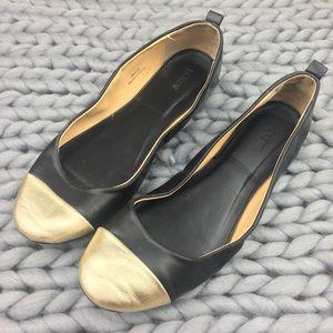 J. Crew Abby Black Gold Cap Ballet Flats Shoes